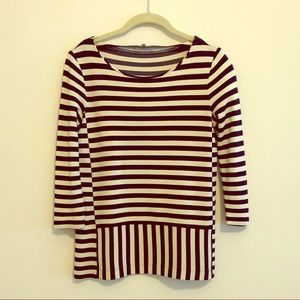 Madewell Navy/Cream Striped Boatneck Ponte Top